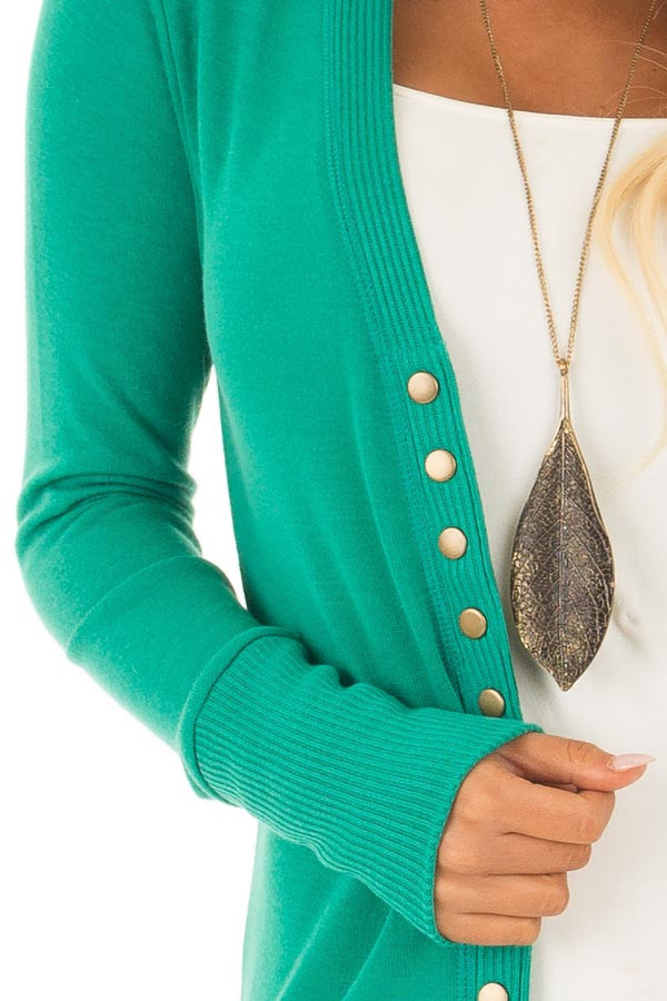 Kelly Green Button Up Sweater Cardigan front detail