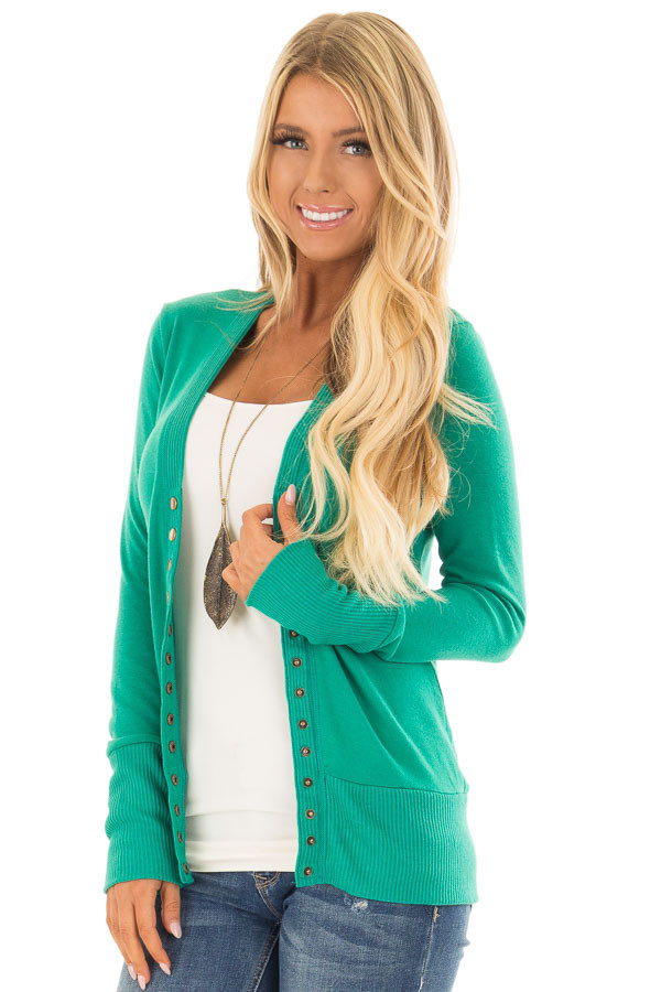 Kelly Green Button Up Sweater Cardigan front closeup
