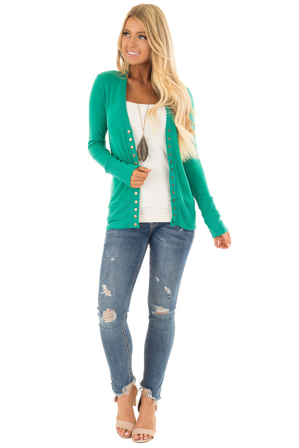 Kelly Green Button Up Sweater Cardigan front full body
