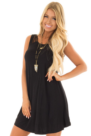 Black Strappy Tank Top Dress front closeup