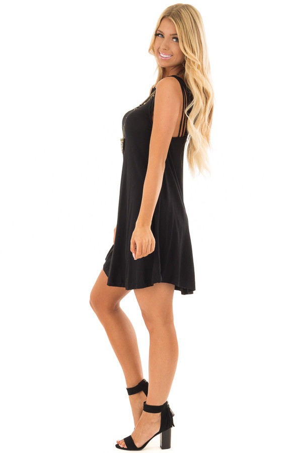 Black Strappy Tank Top Dress side full body