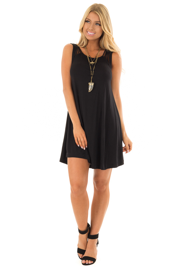 Black Strappy Tank Top Dress front full body