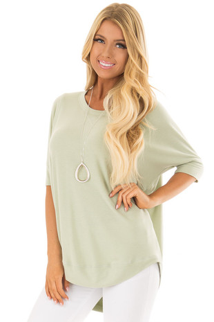Light Sage Half Sleeve Dolman Sweater with Rounded Hem front closeup