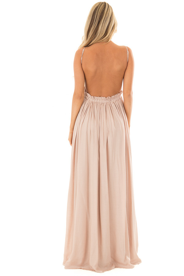 Taupe Backless Dress with Crochet Bodice Detail back full body