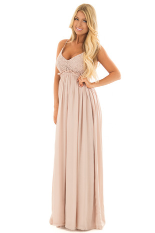 Taupe Backless Dress with Crochet Bodice Detail front full body
