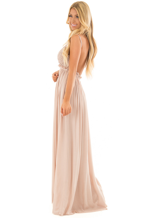 Taupe Backless Dress with Crochet Bodice Detail side full body