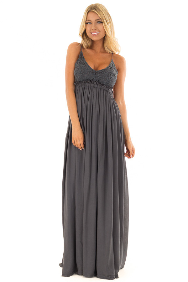 Midnight Navy Backless Dress with Crochet Bodice Detail front full body