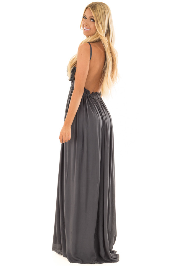 Midnight Navy Backless Dress with Crochet Bodice Detail side full body
