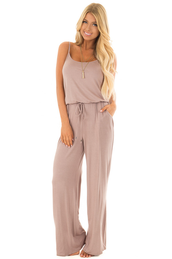 Taupe Sleeveless Jumpsuit with Waist Tie and Front Pockets front full body