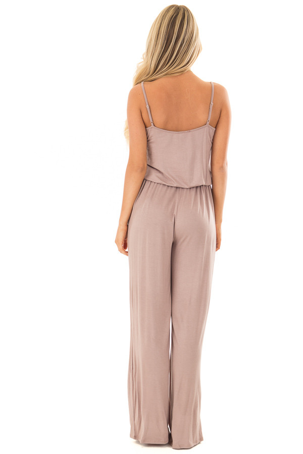 Taupe Sleeveless Jumpsuit with Waist Tie and Front Pockets back full body