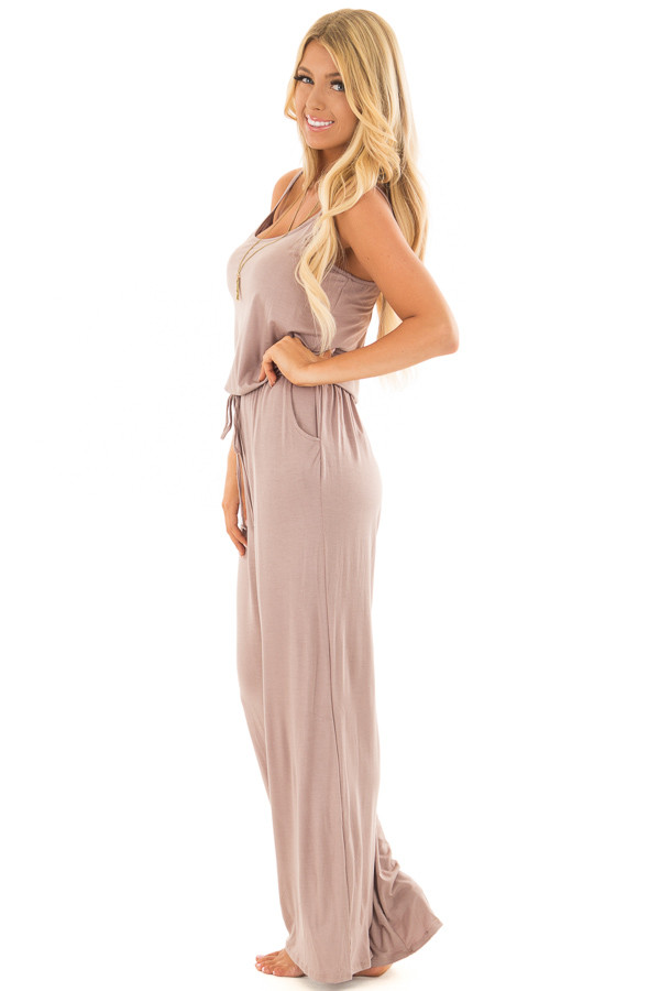 Taupe Sleeveless Jumpsuit with Waist Tie and Front Pockets side full body