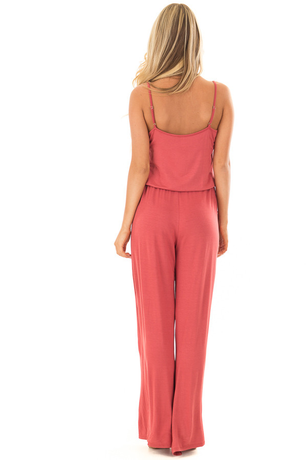 Paprika Sleeveless Jumpsuit with Waist Tie and Front Pockets back full body