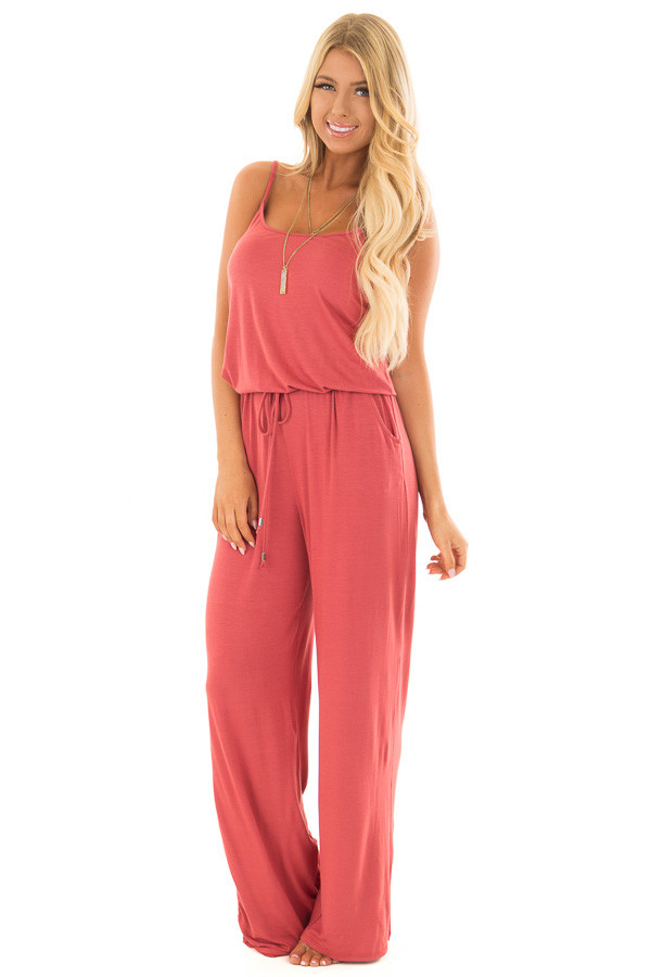 Paprika Sleeveless Jumpsuit with Waist Tie and Front Pockets front full body