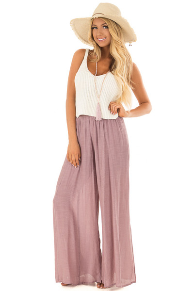Mauve Wide Leg Comfy Pants with High Side Splits front full body