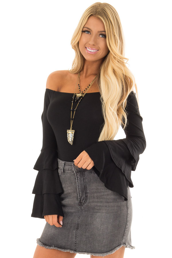 Black Tiered Bell Sleeve Off the Shoulder Bodysuit front closeup
