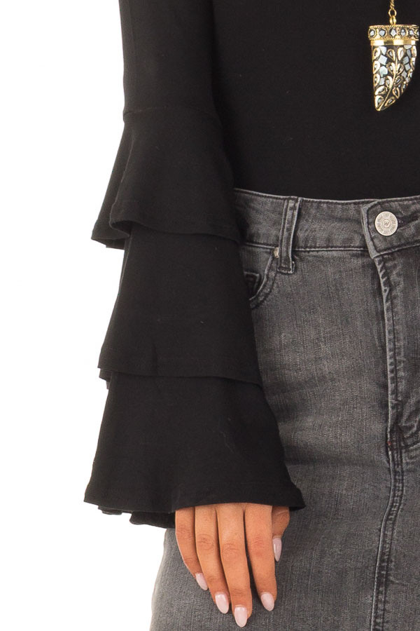 Black Tiered Bell Sleeve Off the Shoulder Bodysuit front detail