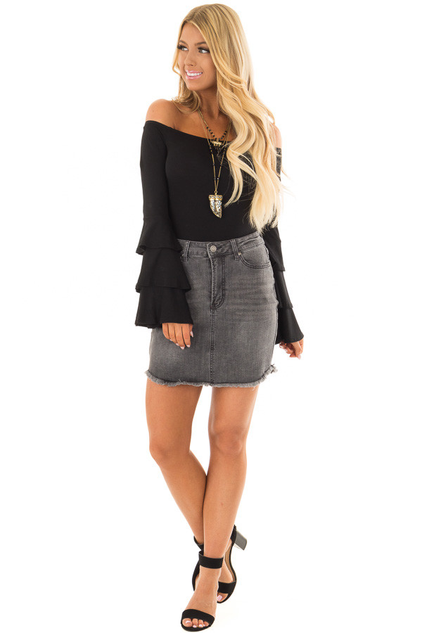 Black Tiered Bell Sleeve Off the Shoulder Bodysuit front full body