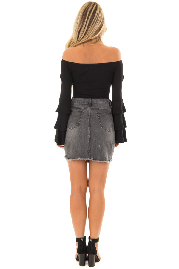 Black Tiered Bell Sleeve Off the Shoulder Bodysuit back full body