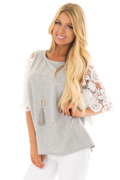 Heather Grey Top with Sheer Lace 1/2 Sleeves front closeup