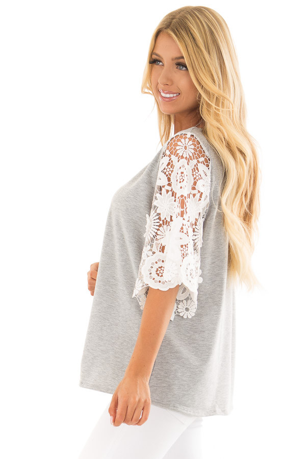 Heather Grey Top with Sheer Lace 1/2 Sleeves side closeup