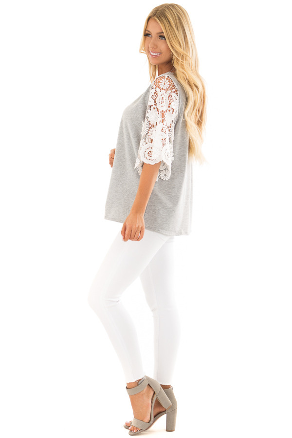 Heather Grey Top with Sheer Lace 1/2 Sleeves side full body