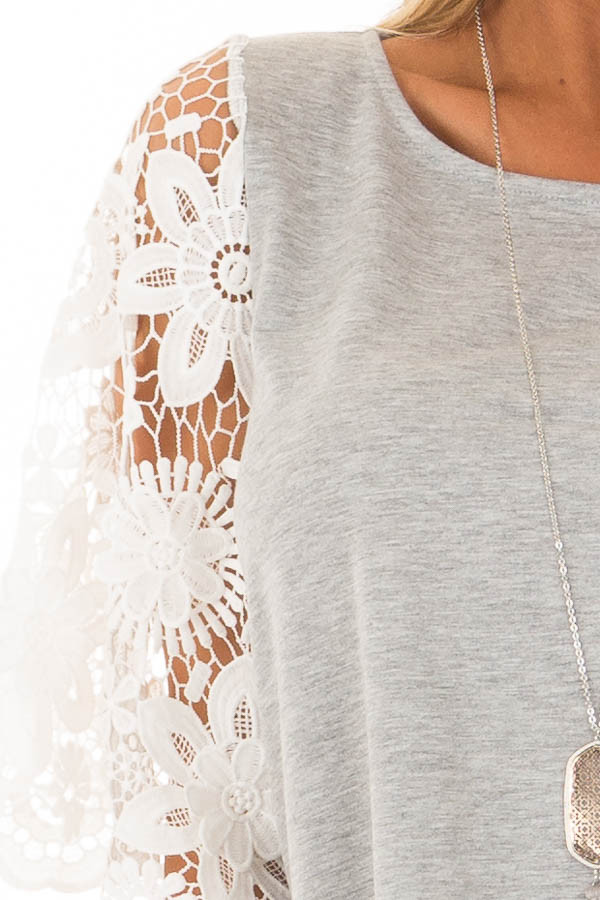 Heather Grey Top with Sheer Lace 1/2 Sleeves front detail