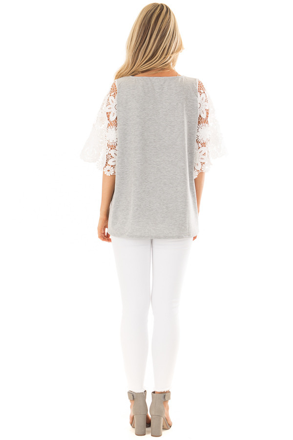 Heather Grey Top with Sheer Lace 1/2 Sleeves back full body