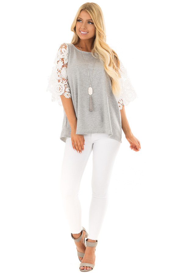 Heather Grey Top with Sheer Lace 1/2 Sleeves front full body