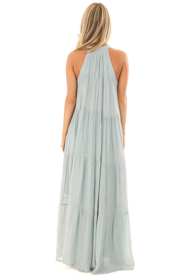 Misty Blue Tiered Maxi Dress with V Neck and Tie Detail back full body