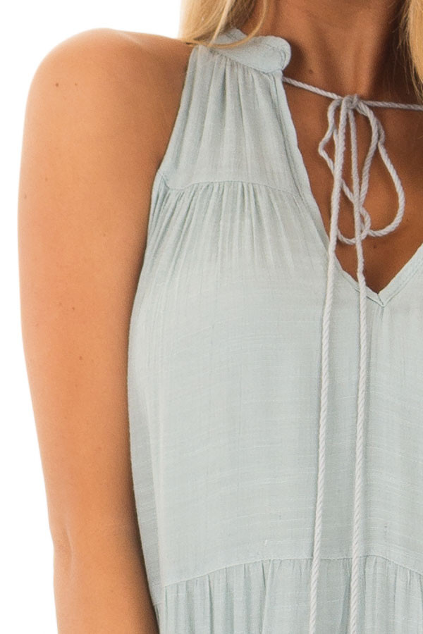 Misty Blue Tiered Maxi Dress with V Neck and Tie Detail front detail