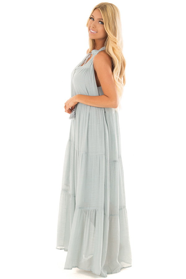 Misty Blue Tiered Maxi Dress with V Neck and Tie Detail side full body