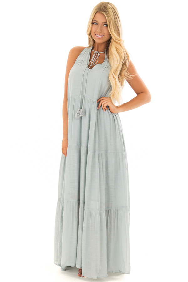 Misty Blue Tiered Maxi Dress with V Neck and Tie Detail front full body