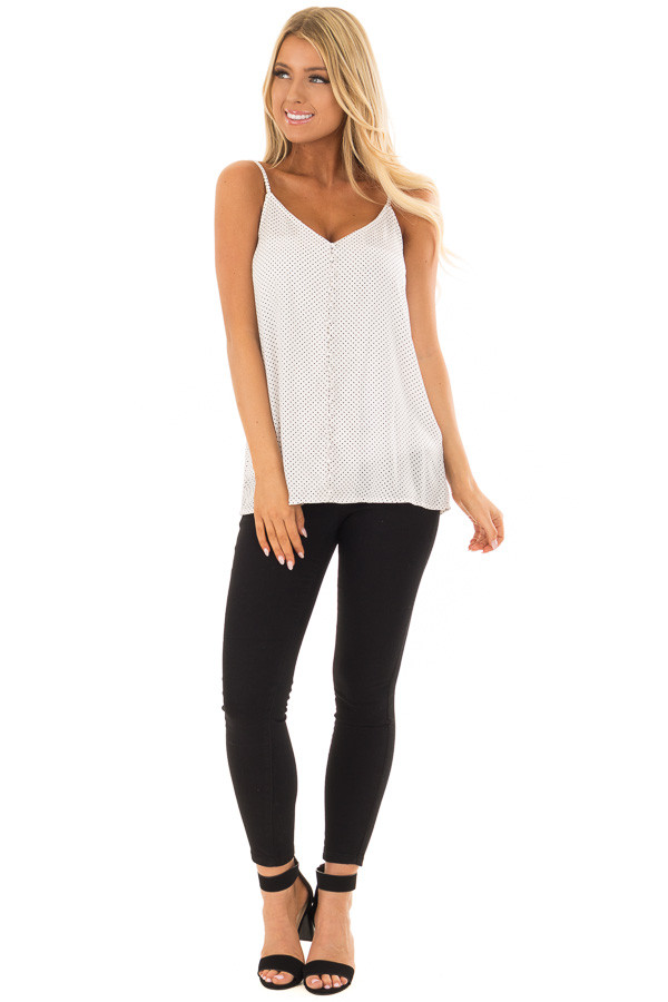 Off White Polka Dot Button Up Tank Top front full body