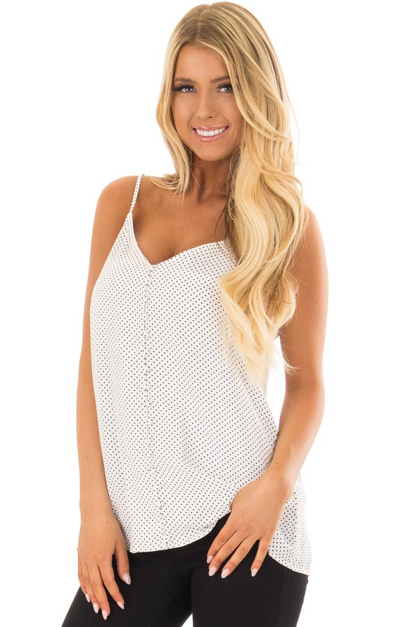 Off White Polka Dot Button Up Tank Top front closeup