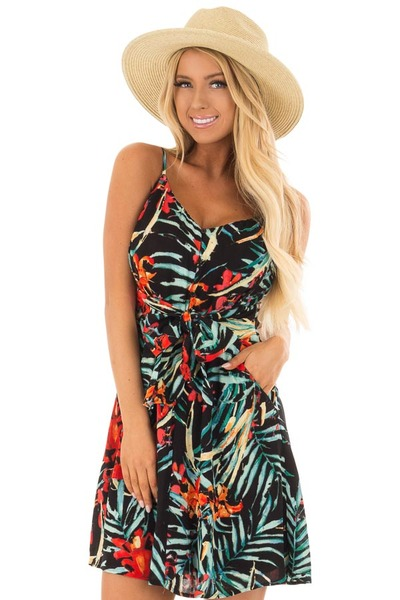 Black Tropical Print Dress with Waist Tie Detail front closeup