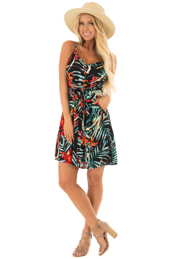 Black Tropical Print Dress with Waist Tie Detail front full body