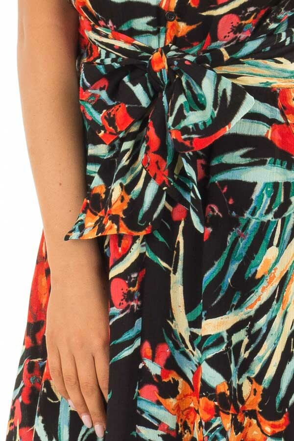 Black Tropical Print Dress with Waist Tie Detail front detail