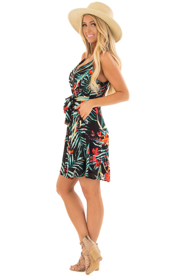 Black Tropical Print Dress with Waist Tie Detail side full body