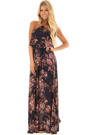 Deep Navy Floral Print Halter Top Maxi Dress front full body