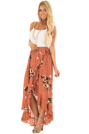 Rust Floral Print Wrap Style Skirt with Tie Detail front full body
