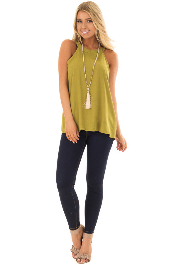 Lime Green High Neck Tank Top front full body