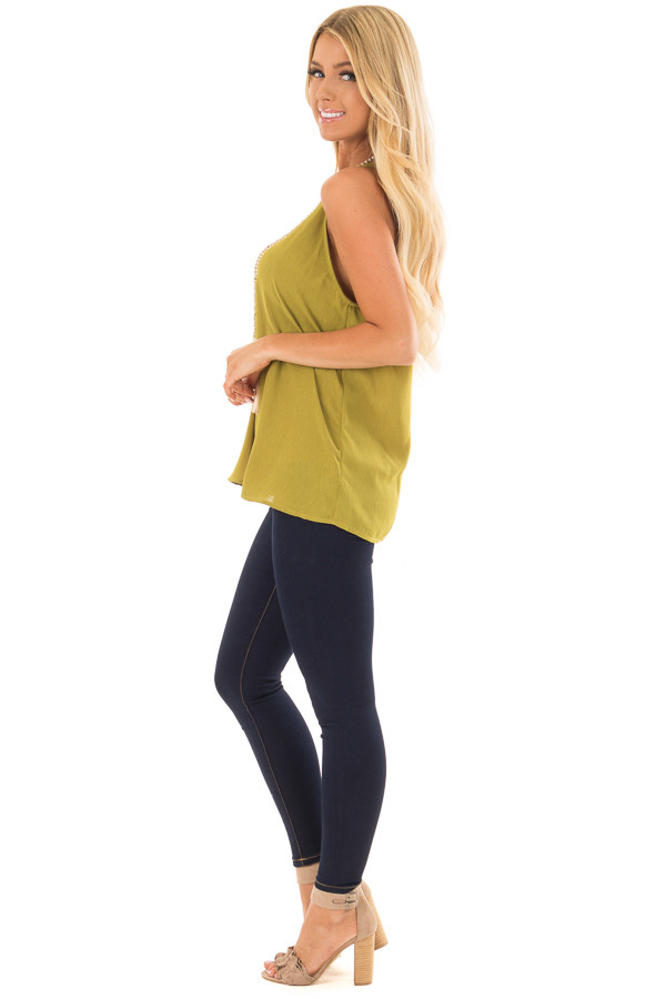 Lime Green High Neck Tank Top side full body