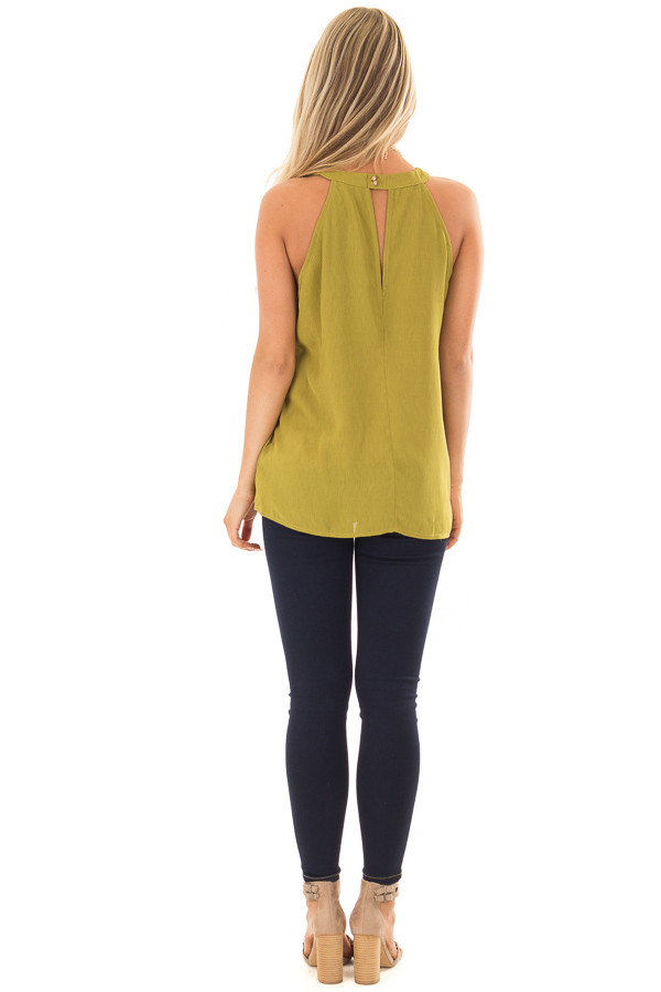 Lime Green High Neck Tank Top back full body