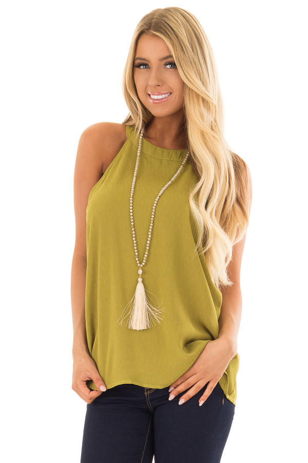 Lime Green High Neck Tank Top front close up