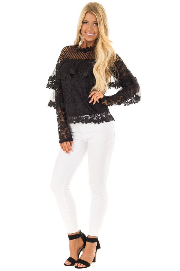 Black Lace Long Sleeve Top with Sheer Fish Net Yoke front full body
