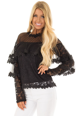 Black Lace Long Sleeve Top with Sheer Fish Net Yoke front closeup