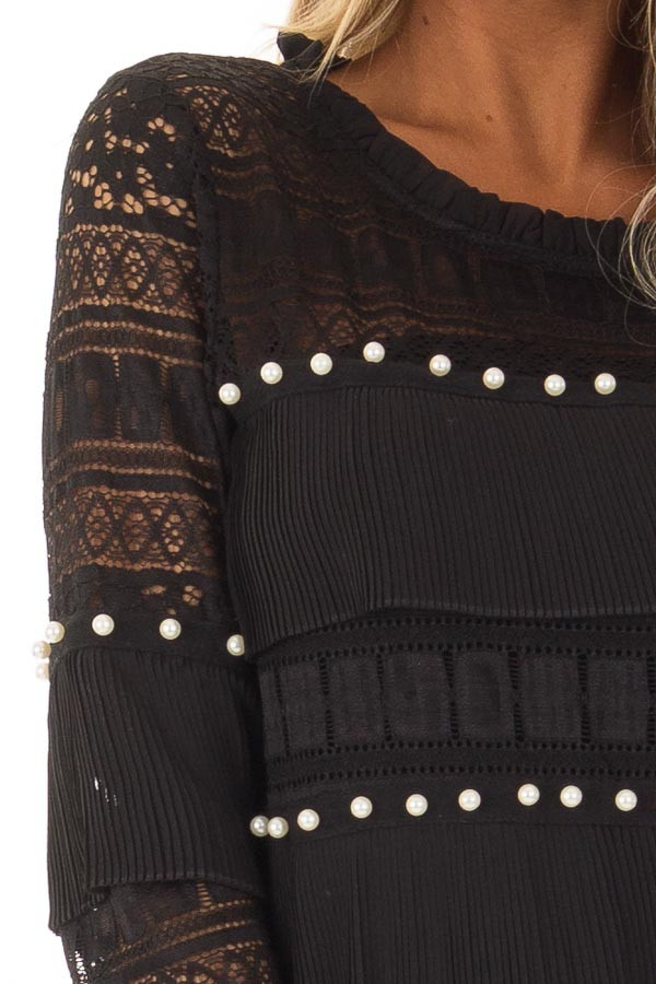 Black Long Sleeve Sheer Crochet Top with Pearl Details front detail