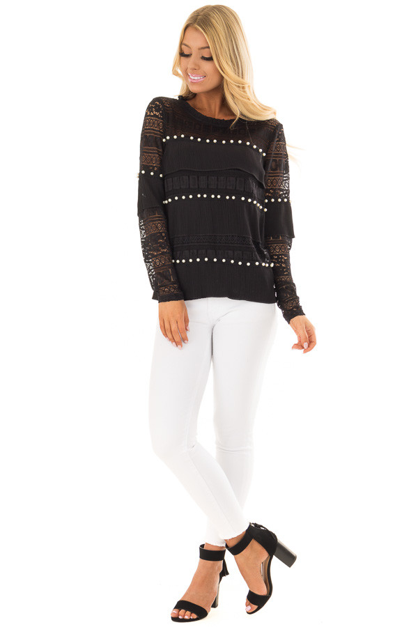 Black Long Sleeve Sheer Crochet Top with Pearl Details front full body