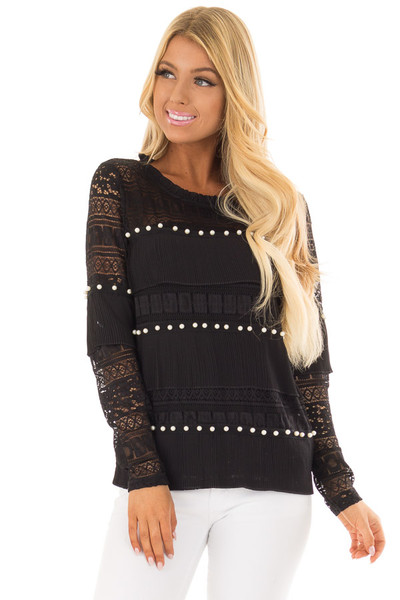 Black Long Sleeve Sheer Crochet Top with Pearl Details front closeup