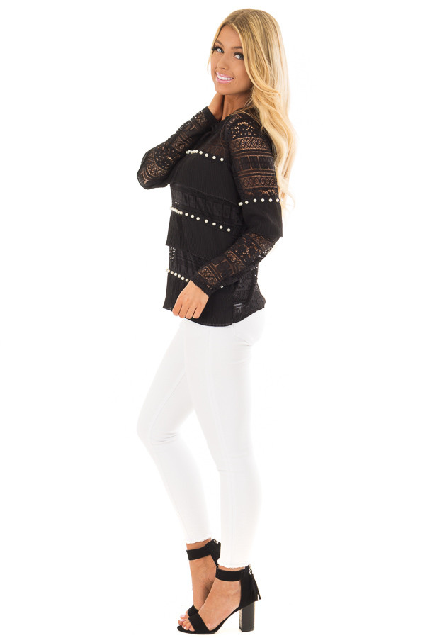 Black Long Sleeve Sheer Crochet Top with Pearl Details side full body